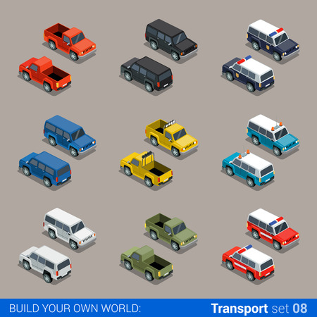 Flat 3d isometric high quality city SUV offroad transport icon set. Car pickup fire service police military farm truck. Build your own world web infographic collection. Illustration
