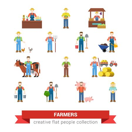 agriculturist: Flat style set of farm profession worker people web icons. Farmer agronomist agronome agriculturist market seller chicken pig breeder harvester milkmaid beekeeper milker. Creative people collection.
