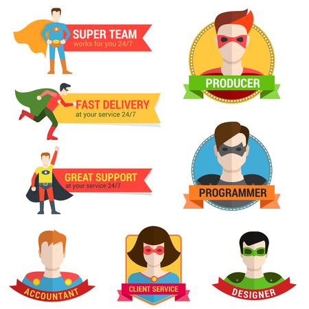 mujer: estilo plano avatar carácter de superhéroes en la etiqueta de la cinta plantilla de diseño creativo. Mujer Hombre perfil superhéroe vista de toda la cara y el lugar de texto Nombre.