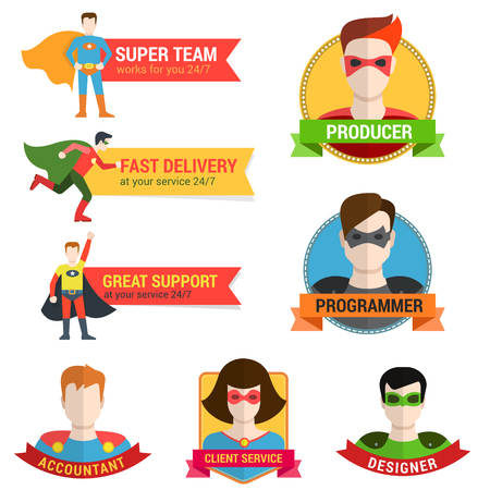 Flat style superhero character avatar on ribbon label creative design template. Man woman super hero profile full face view and place for text name. Çizim