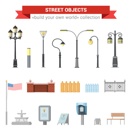 citylight: Flat 3d high quality city street urban objects icon set. Street lights, citylight, fence, usa flag, fountain, sign, street phone, bench. Build your own world web infographics collection. Illustration
