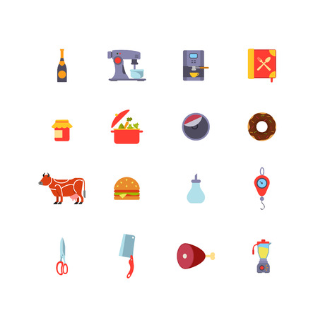 veal: Kitchen stuff Cooking and Food icons flat design vector set: Champagne, Coffee machine, Jam, Pan, Donut, Cow, Sandwich, Sugar, Weights, Scissors, Hatchet, Ham, Leg of veal, Mixer. Illustration