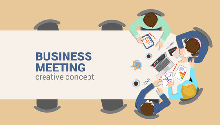 business plan: Office table top view business meeting flat web infographic concept vector. Staff table report analytics working tablet laptop empty background. Brainstorm report planning. Creative people collection. Illustration