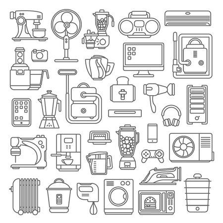 computer icons: Line art style flat graphical set of home kitchen electronic device web site mobile app icons. Climate computer sewing washing coffee machine cooking blender boiler ironing. Lineart world collection. Illustration