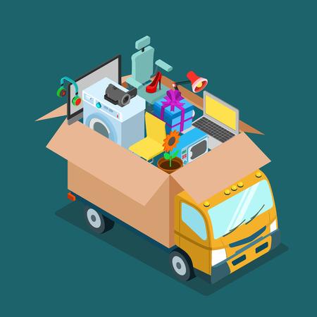 oficina: entrega plana 3D isométrico de Internet en línea web comercial u oficina en casa concepto en movimiento. camión coche motor camioneta con caja abierta llena de regalo de productos electrónicos presentes entregar. Sitio web infogaphics conceptuales.