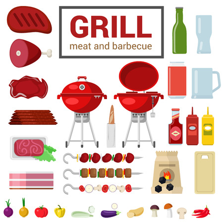 ember: Flat style high detail quality icon set of grill meat barbecue BBQ objects. ?harcoal cutting board eggplant pepper onion ketchup mustard skewer kebab. Food beverage cooking kitchen outdoor collection.