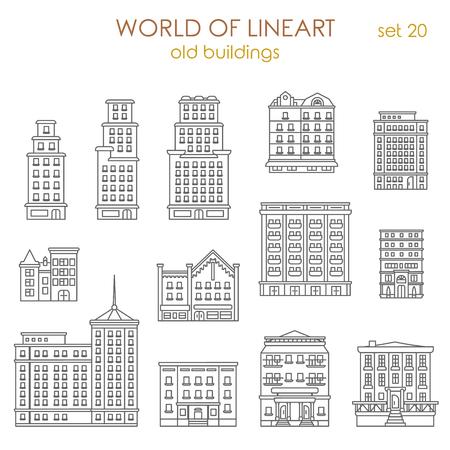 建築歴史的な古い建物グラフィカルなライン アート スタイル アイコンを設定します。ライン アート コレクションの世界。