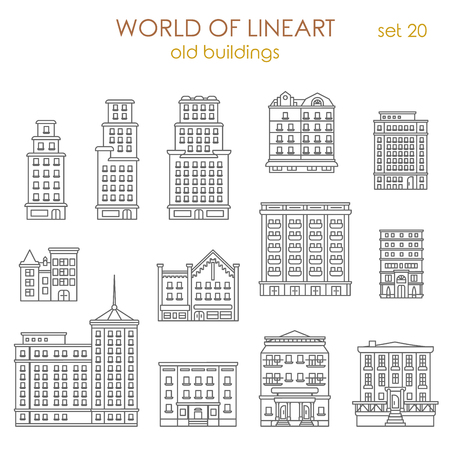 graphical: Architecture historic old buildings graphical line art style icon set. World of line art collection. Illustration