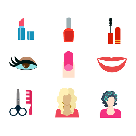 fake smile: Flat style modern beauty shop make-up haircut salon web app concept icon set. Lipstick nail polish mascara hair curlers eye makeup fake nails smile scissors comb blond. Website icons collection.