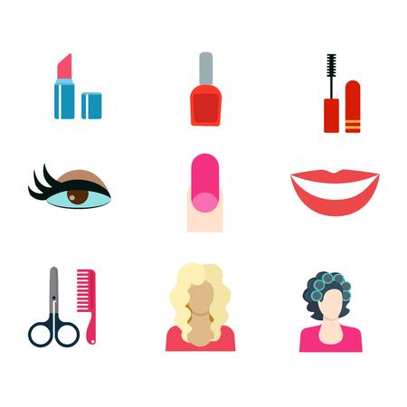 rulos: programar un estilo plana belleza moderna tienda de corte de pelo de maquillaje del sal�n web concepto de aplicaci�n icono. Barra de labios de u�as esmalte de m�scara de pesta�as maquillaje de ojos rizadores u�as postizas sonrisa rubia tijeras peine. Colecci�n de los iconos del sitio web. Vectores