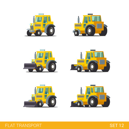 tracked: Flat isometric style modern construction site wheeled tracked vehicles transport web app icon set concept. Tractor motor grader. Build your own world collection.