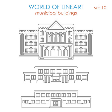 municipal: Architecture public municipal government school university college library police station hospital building graphical line art style icon set. World of lineart collection.