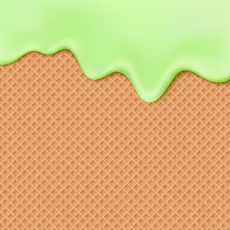wafer: Flowing green glaze on wafer texture sweet food vector background abstract.  Melt icing ice cream on waffle seamless pattern. Editable - Easy change colors.
