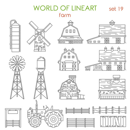 Architecture farm agriculture building graphical lineart hipster set. Barn mill container storage processing fence stack water tank tractor. World of line art collection.