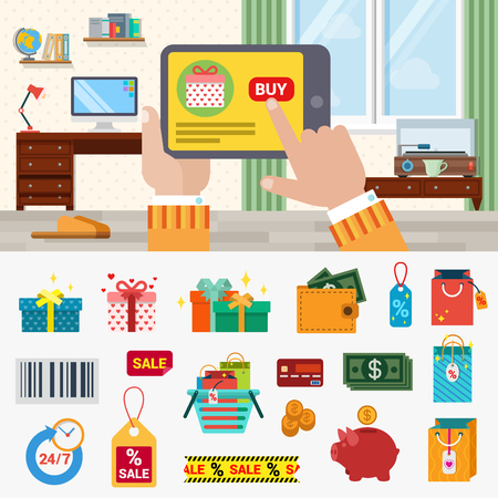 creative money: Flat style online shopping concept icon set. Hand touch tablet web site product interface buy button box gift money coin dollar wallet sale label cart barcode. Modern technology creative collection Illustration