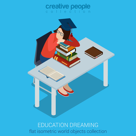student with books: Student dreaming on books at the desk sitting on chair flat isometric collection. Education business concept. Creative people collection.