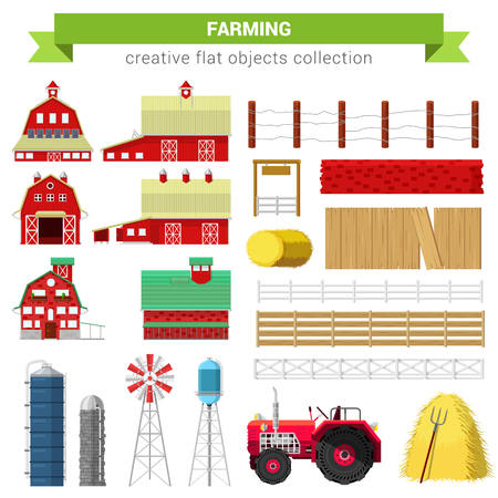 farming village: Flat style farming agriculture icon set. Farm rancho building barn mill container storage processing fence stack water tank tractor. Creative objects collection.