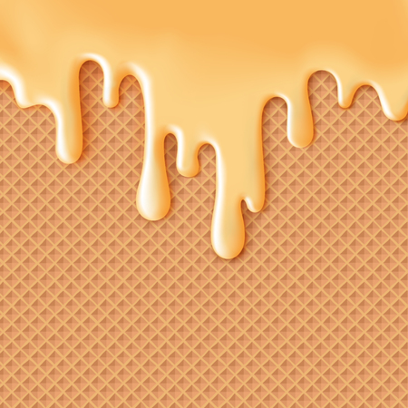 Flowing caramel glaze on wafer texture sweet food vector background abstract.
