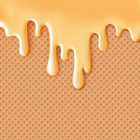 Flowing glassa al caramello su wafer trama cibi dolci vettore sfondo astratto. Sciogliere ciliegina gelato sulla cialda seamless. Modificabile - Facile cambiare i colori.