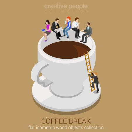コーヒー ブレーク コンセプト フラット web 等尺性インフォ グラフィックの 3d ベクトル。巨大なコーヒーに座ってビジネス カジュアルなビジネスマ