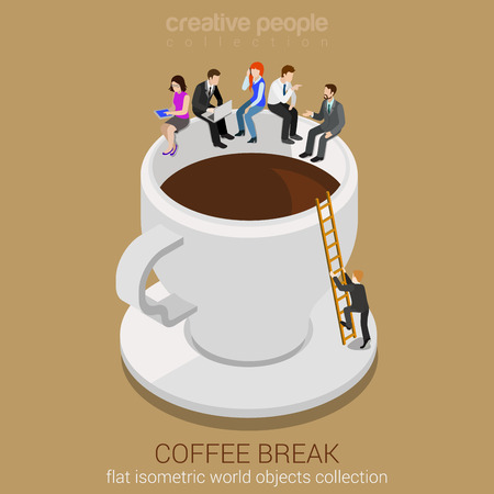 Coffee break concept flat 3d web isometric infographic vector. Business casual businesspeople sitting on huge coffee cup edge. Man climbing up ladder. Creative people collection.