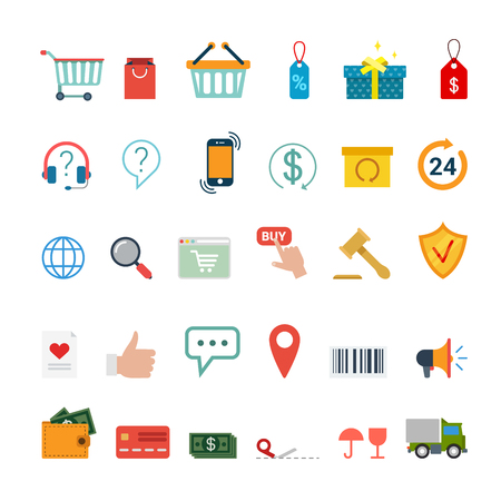 Flat creative style online shopping auction mobile app modern infographic vector icon set. Application icons collection.