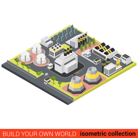 building block: Flat 3d isometric power alternative green energy heat plant building block infographic concept. Sun battery module eco friendly station. Build your own infographics world collection. Illustration