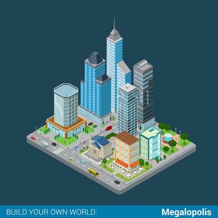 megalopolis: Flat 3d isometric megalopolis business city center building block infographic concept. Skyscrapers mall municipal office court bank restaurant square park. Build your own infographics world collection Illustration