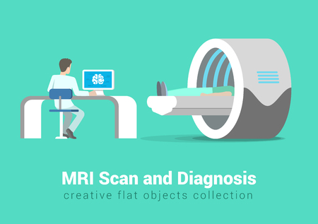 procedures: MRI scan and diagnostics process. Hospital patient and doctor in procedure room interior. Creative people healthy lifestyle collection.