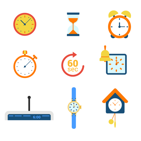 Flat style modern time clock alarm schedule notification appointment measure web app concept icon set. Timer watch mechanical electronic coo-coo hourglass stopwatch. Website icons collection. Illustration