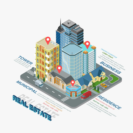 residence: Flat 3d isometric style thematic real estate infographics concept. Realty type municipal business residence info graphic. Conceptual web site infographic collection.