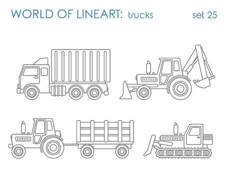 Construction municipal transport graphical lineart hipster set. Tipper excavator tractor grader. Line art collection.