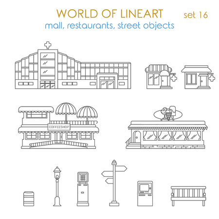 local business: Architecture city public business estate building pharmacy coffee shop city environment object lantern ATM terminal urn bench restaurant local business graphical line art style icon set. World of lineart collection. Illustration