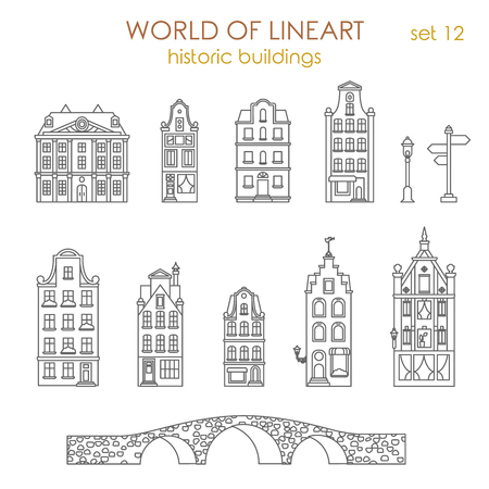 old buildings: Architecture historic old buildings graphical lineart hipster style set. World of line art collection.
