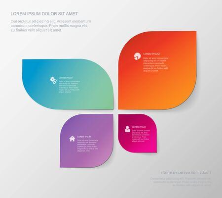 silhouette papillon: Quatre zone modèle de style de forme de papillon infographique. infographies Business collection.