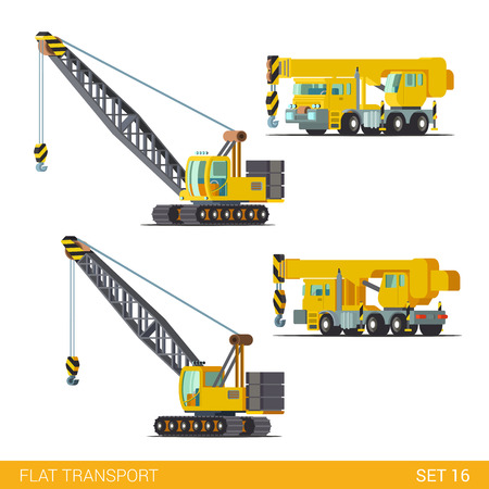 industrial construction: Flat isometric style modern construction site industrial building tracked vehicles transport web app icon set concept. Boom gib arm crane jib gibbet derrick. Build your own world collection.
