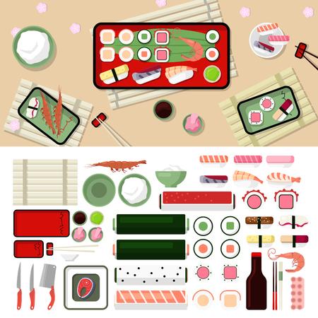 wasabi: Sushi restaurant flat style design vector graphic elements set. Sashimi, Sushi, Prawn, Rolls, Fish, Rise, Chinese chopsticks, Plates, Soy sauce, Wasabi icon illustrations. Illustration