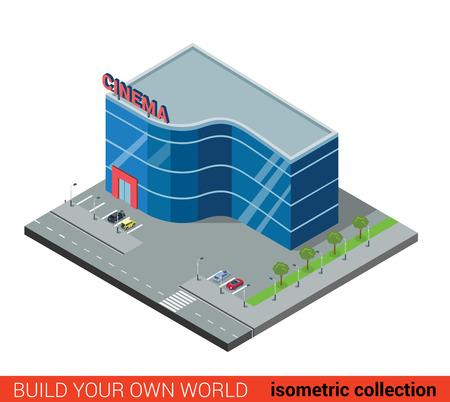 Flat isometrische 3d moderne glazen cinema bouwsteen infographic concept. Entertainment theater met eigen parkeerplaats. Bouw je eigen infographics wereld collectie.