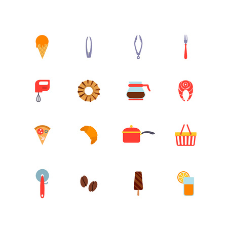 food stuff: Kitchen stuff Cooking and Food icons flat design vector set: ice cream, spoon, tongs, mixer, donut, coffee pot, salmon, pizza, croissant, pan, shopping basket, ice cream, coffee beans, glass of fresh orange juice.