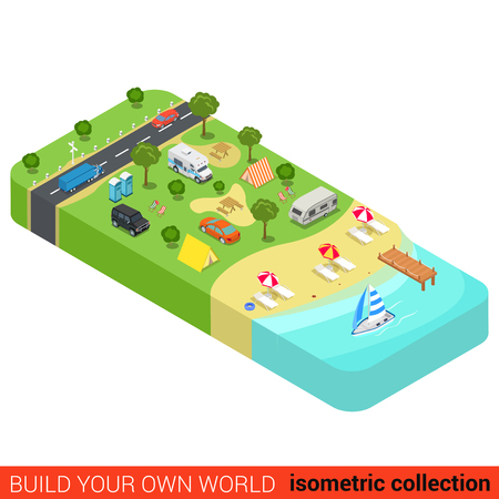 sea world: Flat 3d isometric vacation holiday beach camping tourism building block infographic concept. Yacht marine sea shore sunbathing lounge tent camp motorhome. Build your own infographics world collection.