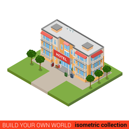 guest house: Flat 3d isometric hotel building block infographic concept. Travel vacation trip tourism guesthouse and luggage. Build your own infographics world collection.