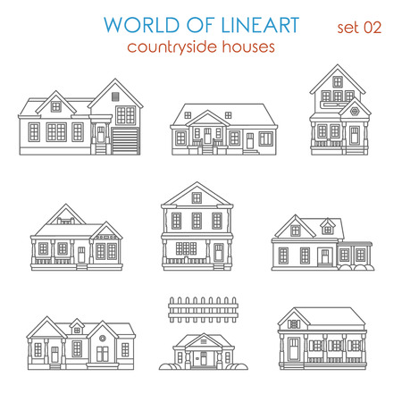 graphical: Architecture countryside house townhouse graphical lineart hipster set. World of line art collection.