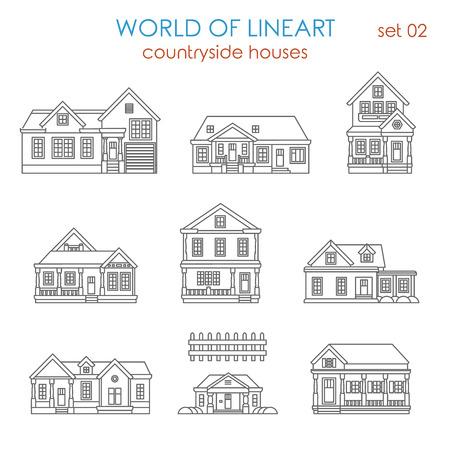 contorno: Arquitectura del conjunto de lineas de campo casa adosado gráfica de última moda. Mundo de la colección de arte de línea.