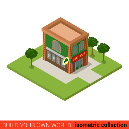tavern: Flat 3d isometric beer pub building block infographic concept. Bar tavern public house ordinary ivy bush. Build your own infographics world collection. Illustration