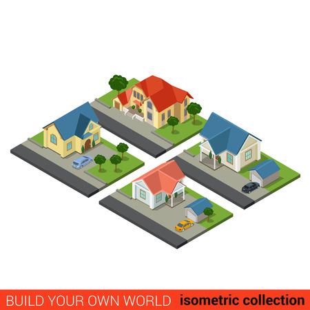 Flache Isometrische 3D Satz Von Familienlandhaus Hof Hinterhof Garage  Baustein Infografik Konzept. Bauen