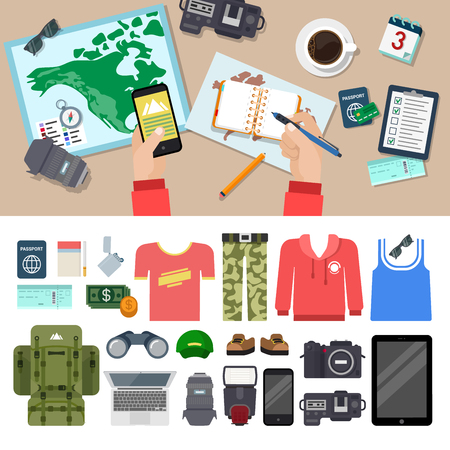 blog icon: Flat style travel blog icon set. Top view table. Camera lens notes tablet smart phone clothes speedlight laptop backpack binocular money passport ticket lighter cigarette. Holiday vacation concept.