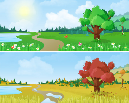 four: Tree on scenic landscape lake shore road seasons: spring summer autumn. Floral nature grass background changing seasons set collection.