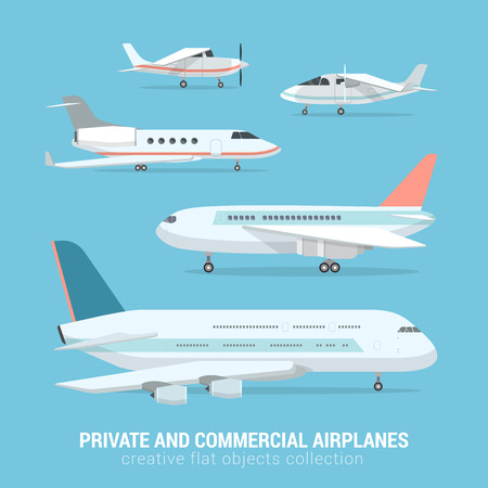private jet: Flat style set of commercial and private airplanes. Business jet light motor plane medium-range transcontinental aircraft. Creative aerial transport collection. Illustration