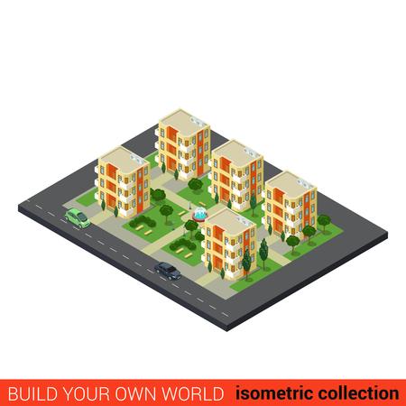 building block: Flat 3d isometric city dormitory area sleeping quarters condominium appartment building block infographic concept. Build your own infographics world collection.