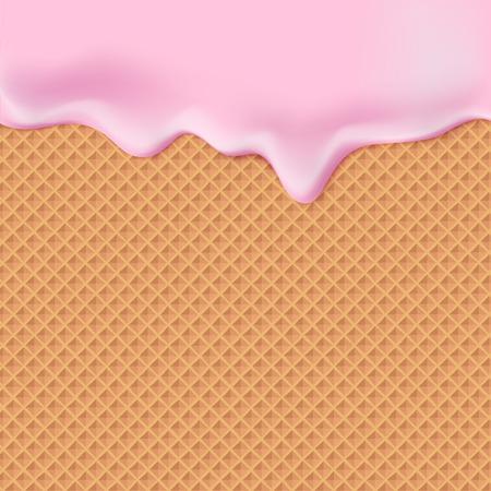 ウェーハ テクスチャ甘い食べ物ベクトルの背景にピンクの釉薬を流れます。ワッフルのシームレス パターンの上のアイシングを溶かします。編集 -   イラスト・ベクター素材